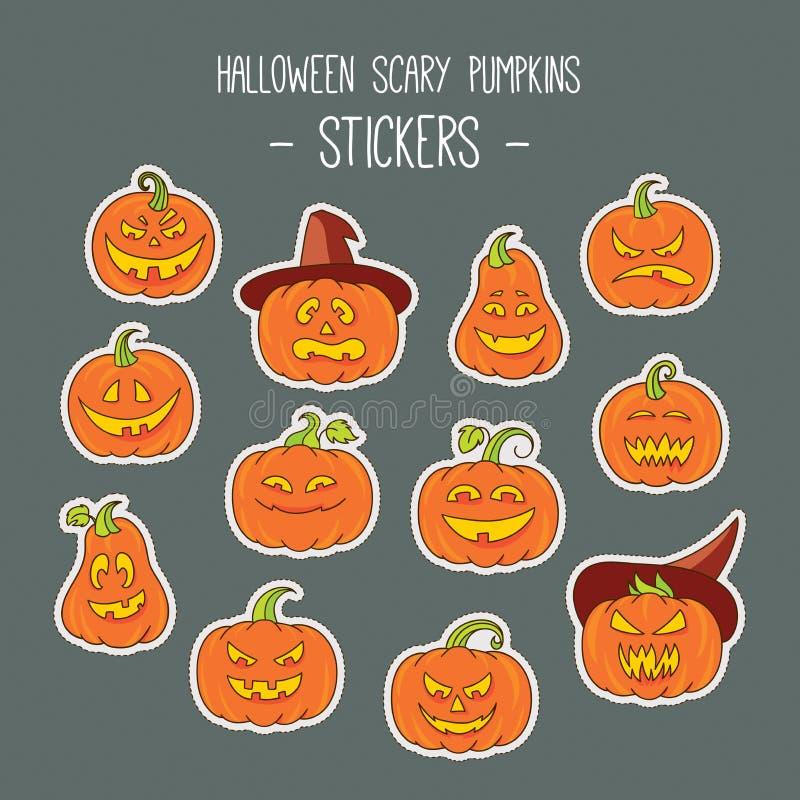 Halloweenowi straszni bania majchery ustawiający ilustracja wektor