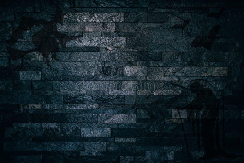 Halloweenowi Straszni cienie czarownicy i nietoperze na ciemnym ściana z cegieł tle royalty ilustracja