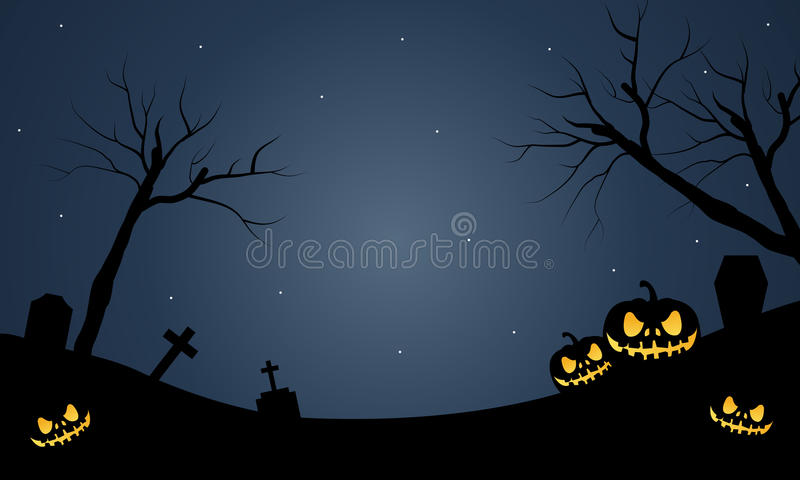 Halloweenowi straszni pumkins przy nocą ilustracja wektor
