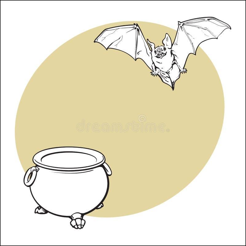 Halloweenowi symbole bania, dźwigarki o lampion i latanie wampira nietoperz -, royalty ilustracja