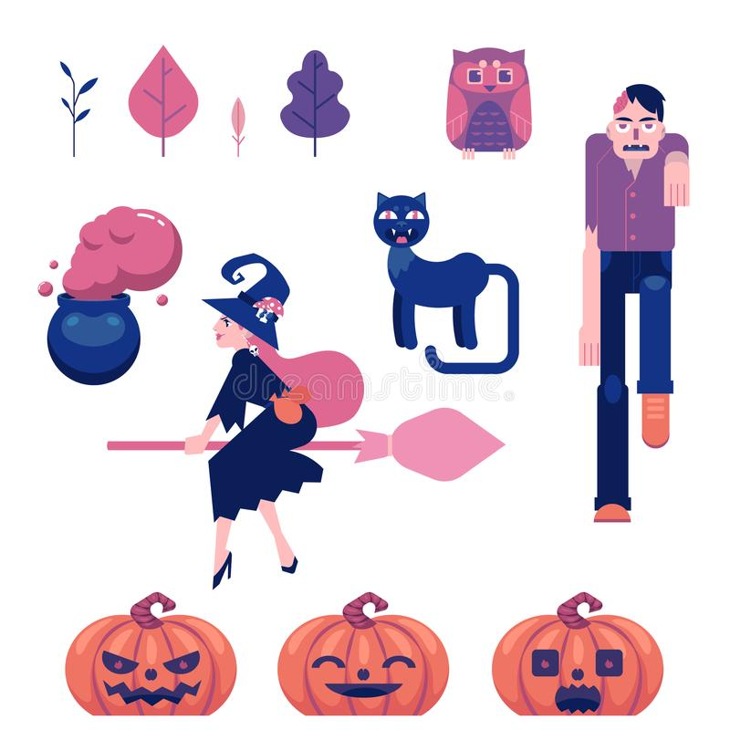 Halloweenowi symbole ustawiający z różnorodnymi śmiesznymi i strasznymi elementami dla jesień wakacyjnego projekta ilustracja wektor