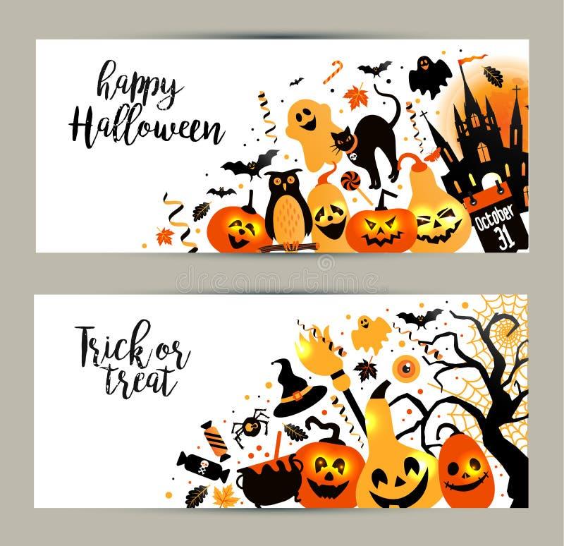 Halloweenowi sztandary ustawiający na białym tle Zaproszenie noc p ilustracji