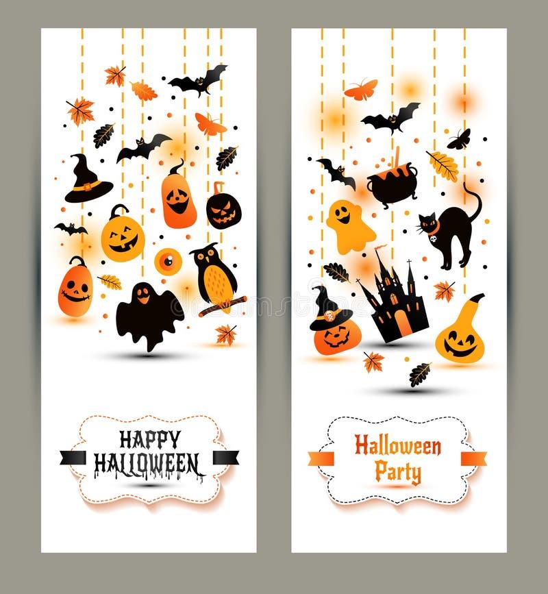 Halloweenowi sztandary ustawiający na białym tle Zaproszenie noc p royalty ilustracja