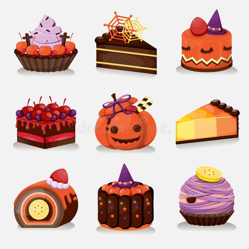 Halloweenowi torty ilustracji