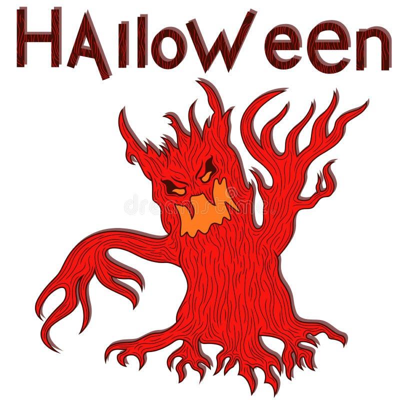 Halloweenowy agresywny zły drzewo royalty ilustracja