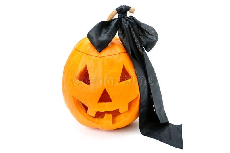 Halloweenowy bani głowy dźwigarki lampion odizolowywający na białym tle zdjęcia stock