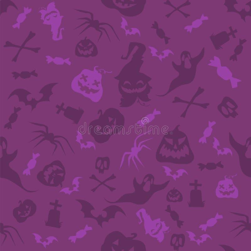 Halloweenowy bani, kości, nietoperzy i czaszek bezszwowy wzór, Fiołkowa wektorowa ilustracja w kreskówka stylu dla wakacyjnego pl ilustracji