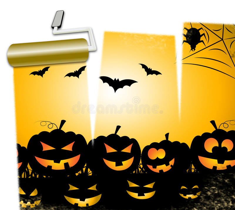 Halloweenowy bania sposobów Trikowy, funda Lub duch royalty ilustracja