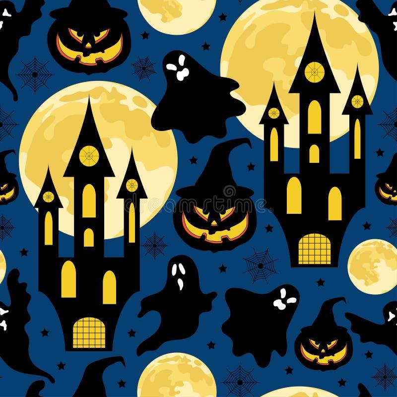 Halloweenowy bezszwowy wzór dla przyjęcia z kasztelami, baniami, księżyc, duchami i gwiazdami, fotografia royalty free