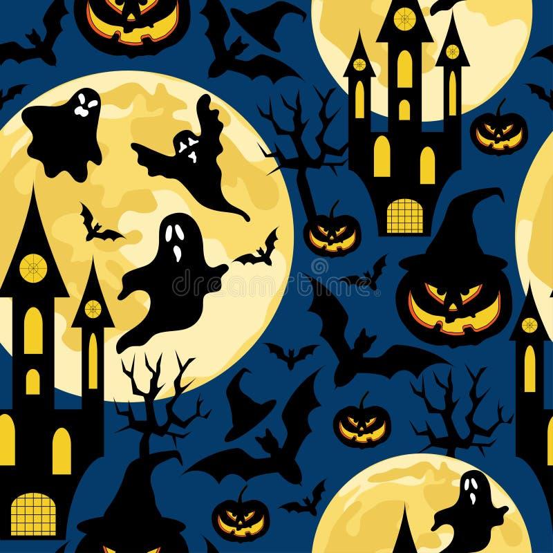 Halloweenowy bezszwowy wzór dla przyjęcia z nietoperzami, duchami, kasztelami i baniami, obrazy stock