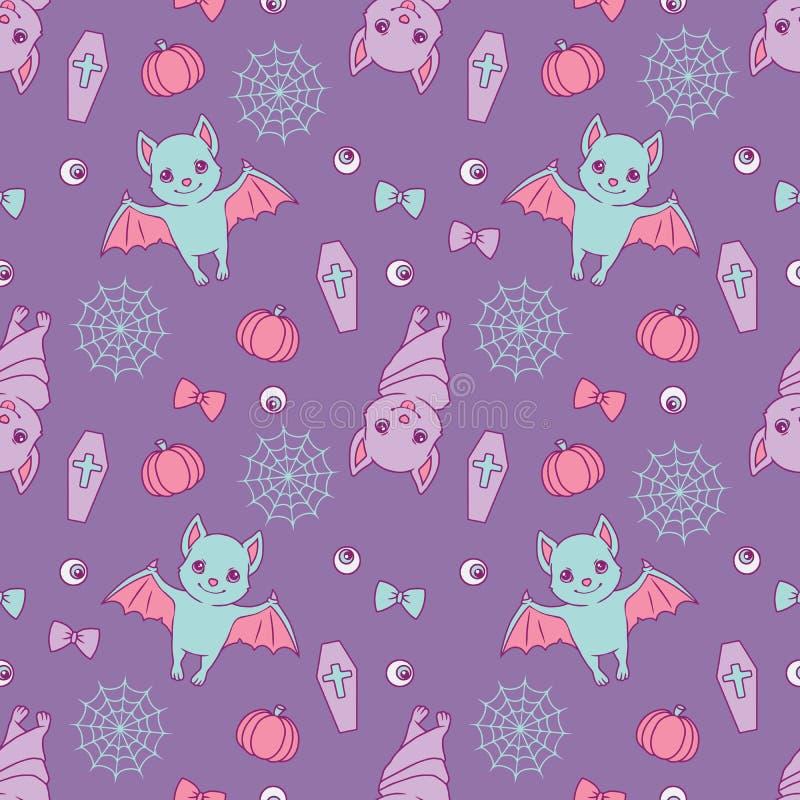 Halloweenowy bezszwowy wzór z ślicznym fiołkiem, błękitni kreskówka nietoperze, spiderwebs, faborki, banie i gałki oczne na purpu royalty ilustracja