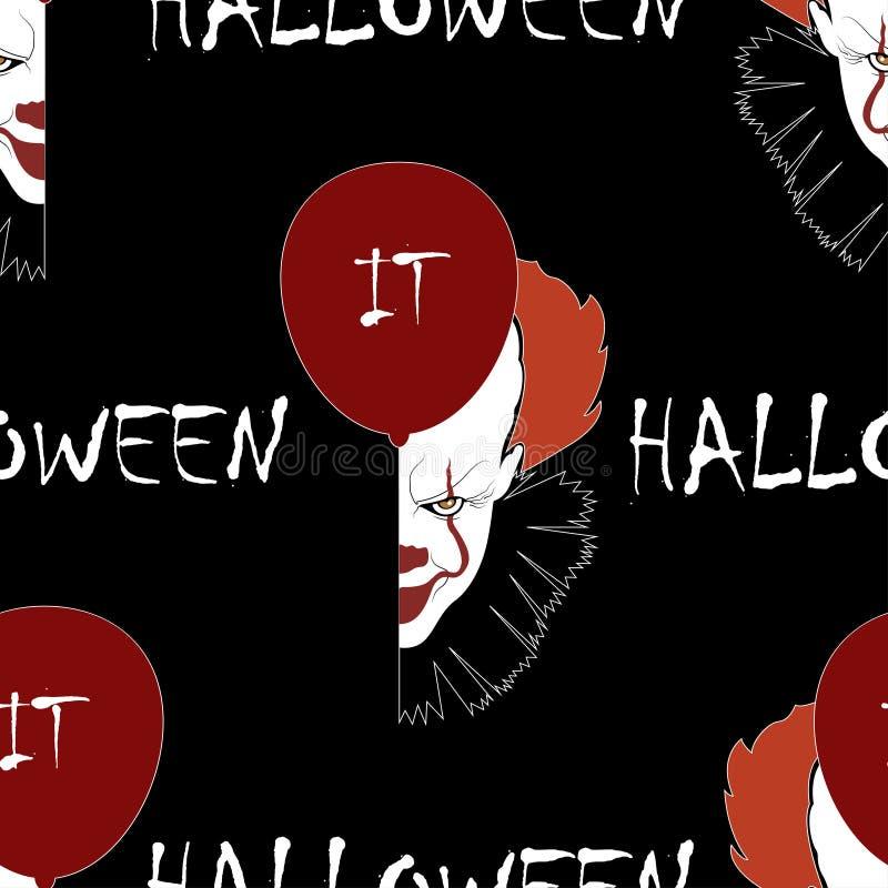 Halloweenowy bezszwowy wzór z błazenami przewodzi i szybko się zwiększać Wektorowy tło dla nocy przyjęcia royalty ilustracja