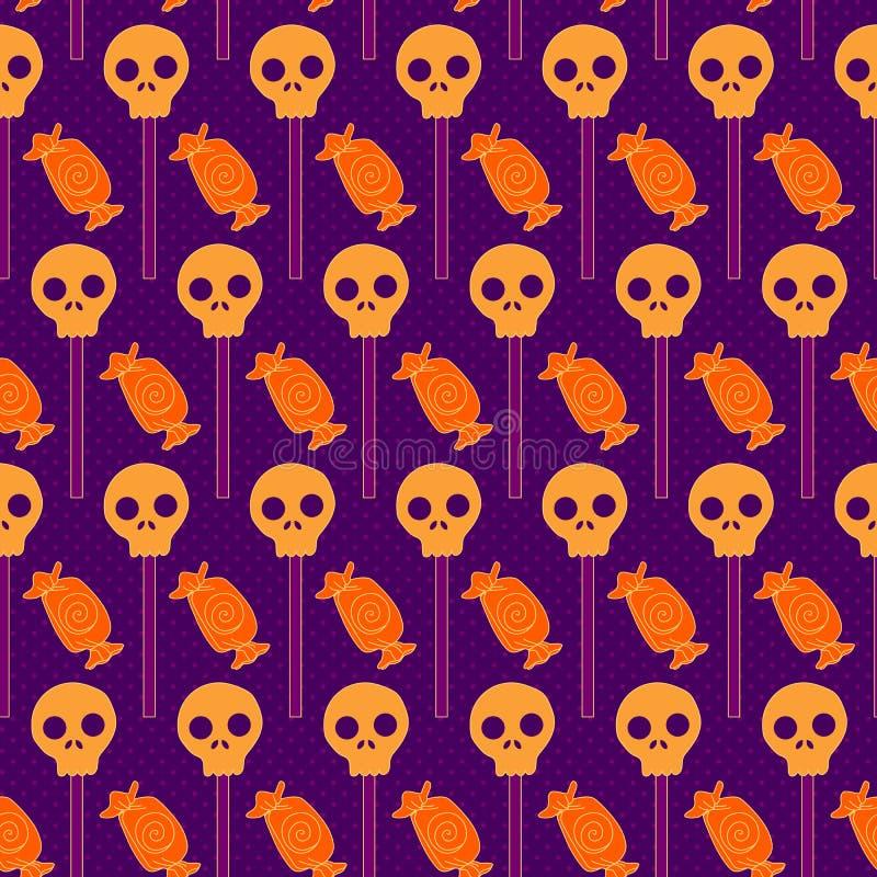 Halloweenowy bezszwowy wzór z cukierkami i czaszką royalty ilustracja