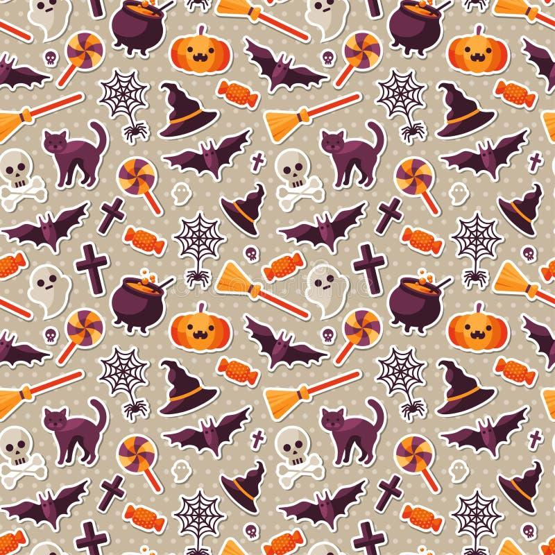 Halloweenowy Bezszwowy wzór z Płaskimi majcher ikonami royalty ilustracja