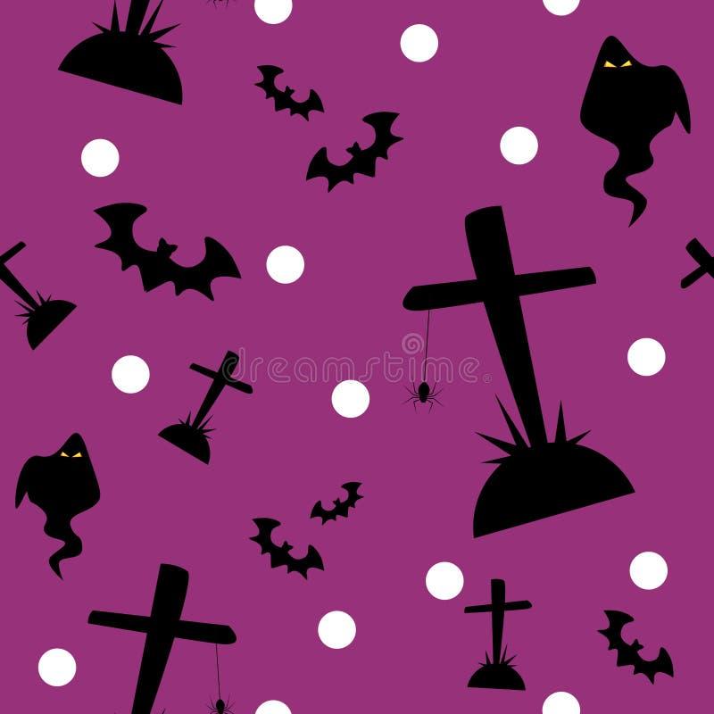 Halloweenowy bezszwowy wz?r z ?licznymi Halloweenowymi elementami ilustracji