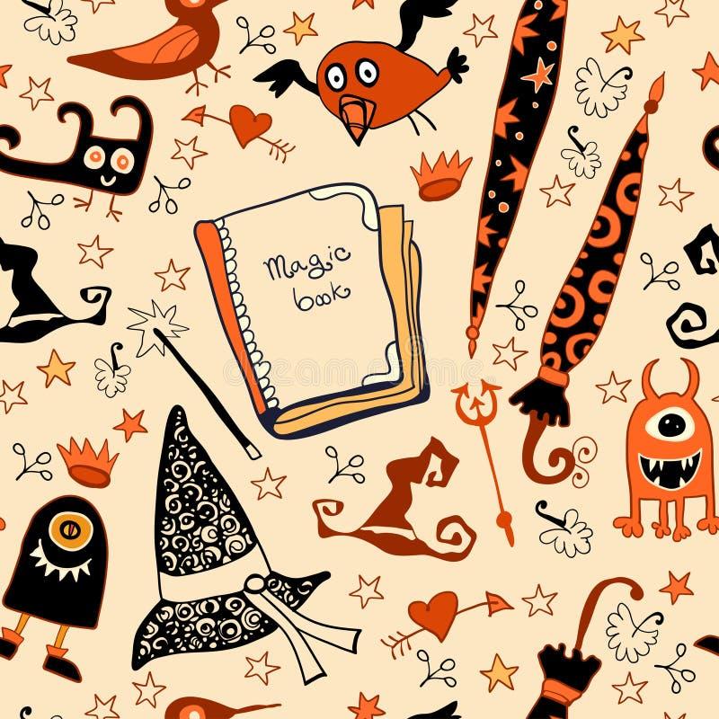 Download Halloweenowy Bezszwowy Z Rzeczy Czarownicami Ilustracja Wektor - Obraz: 35625215