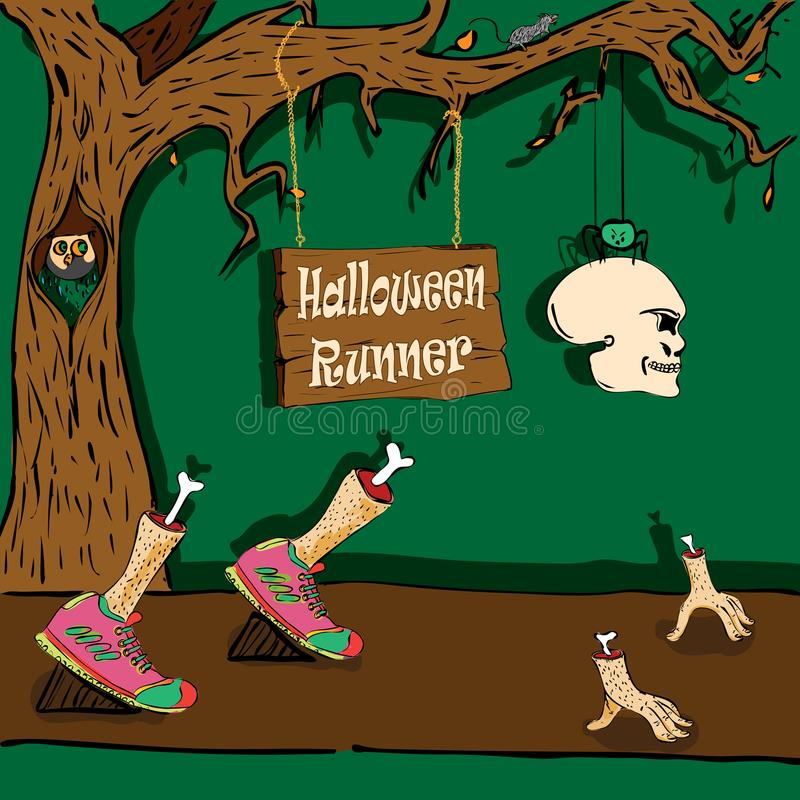 Halloweenowy biegacz ilustracja wektor