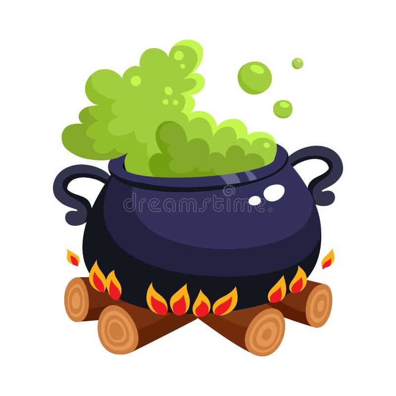 Halloweenowy caldron, kocioł z gotowanie zieleni napojem miłosnym na drewnianym ogieniu ilustracja wektor