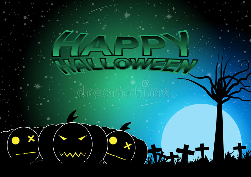 Halloweenowy cmentarz z błękitnej księżyc wektoru tłem ilustracja wektor