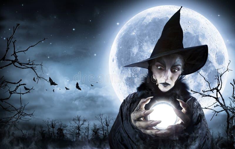 Halloweenowy czarownica jasnowidz zdjęcia royalty free
