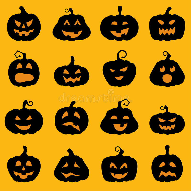 Halloweenowy dekoracja lampionu sylwetki set royalty ilustracja