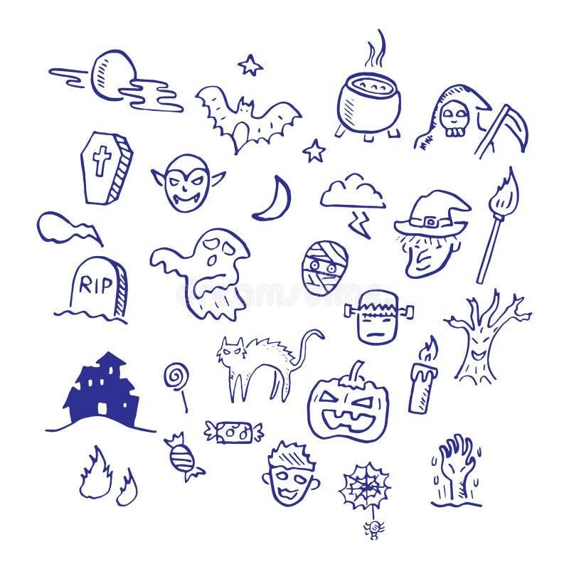 Halloweenowy doodle royalty ilustracja