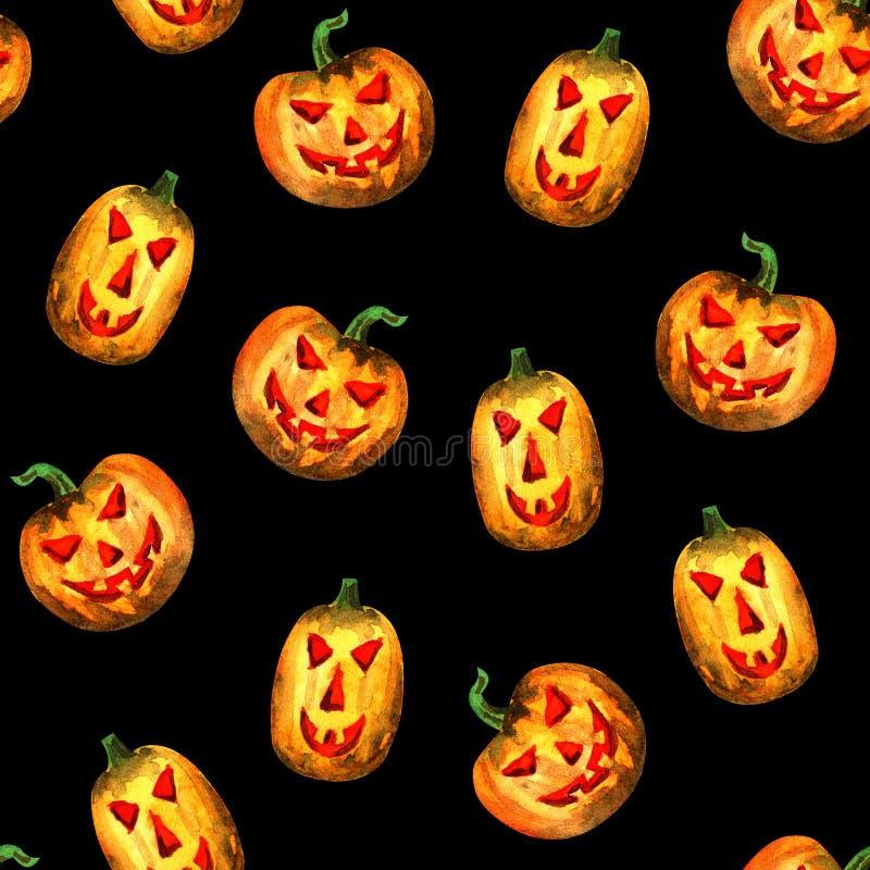 Halloweenowy dyniowy bezszwowy wz?r royalty ilustracja