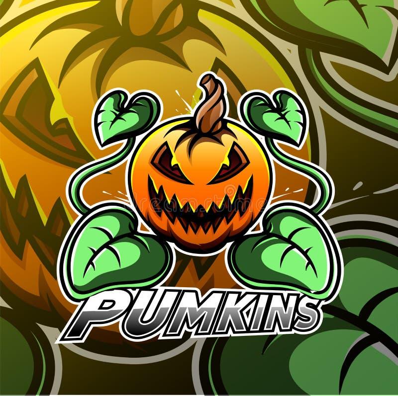 Halloweenowy dyniowy esport maskotki logo royalty ilustracja