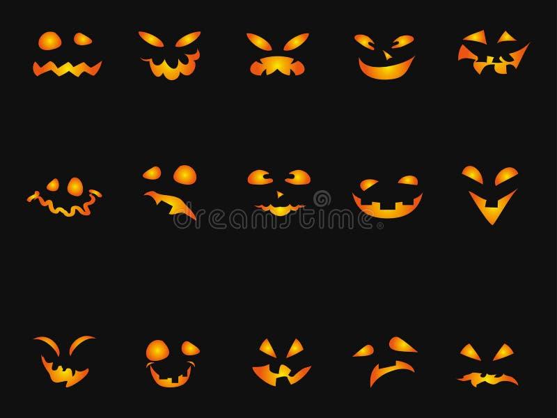 Halloweenowy Dyniowy smileys ikony tła set ilustracja wektor