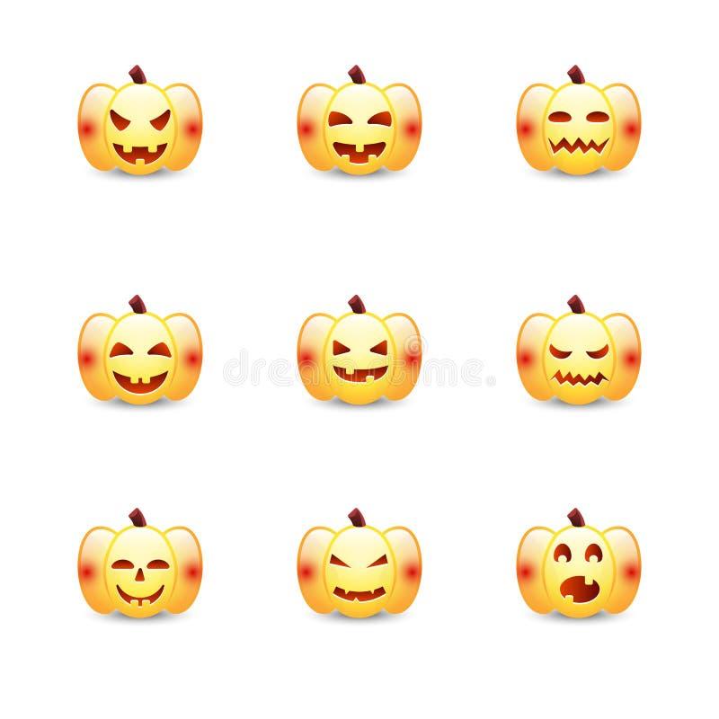 Halloweenowy dyniowy wektorowy ikony emoticon set Śliczni projektów elementy z różną emocją Inkasowy straszny horror royalty ilustracja