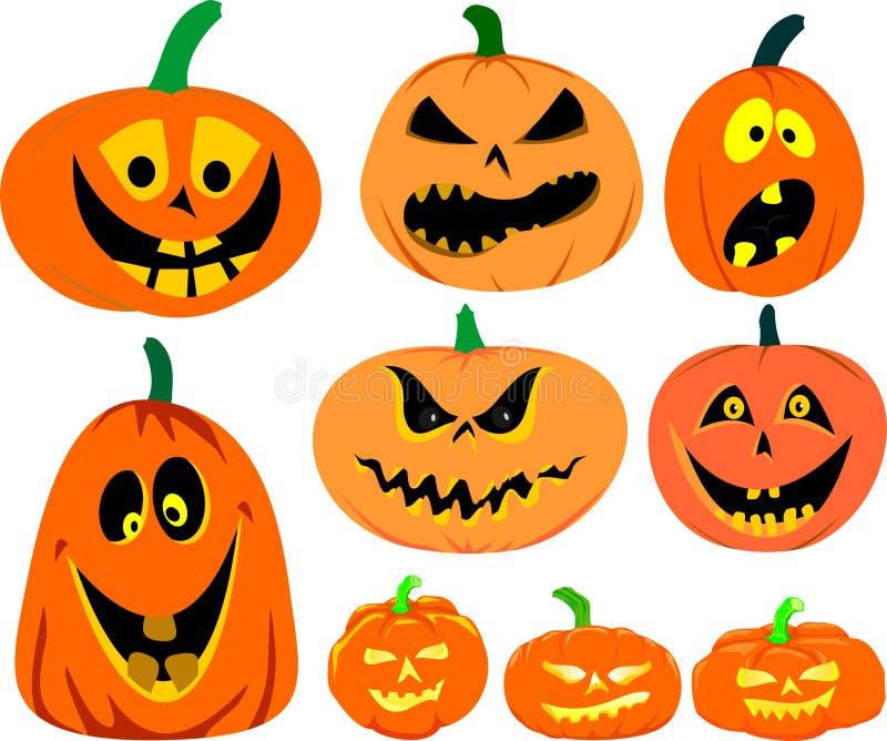 Halloweenowy dyniowy wektoru set ilustracji