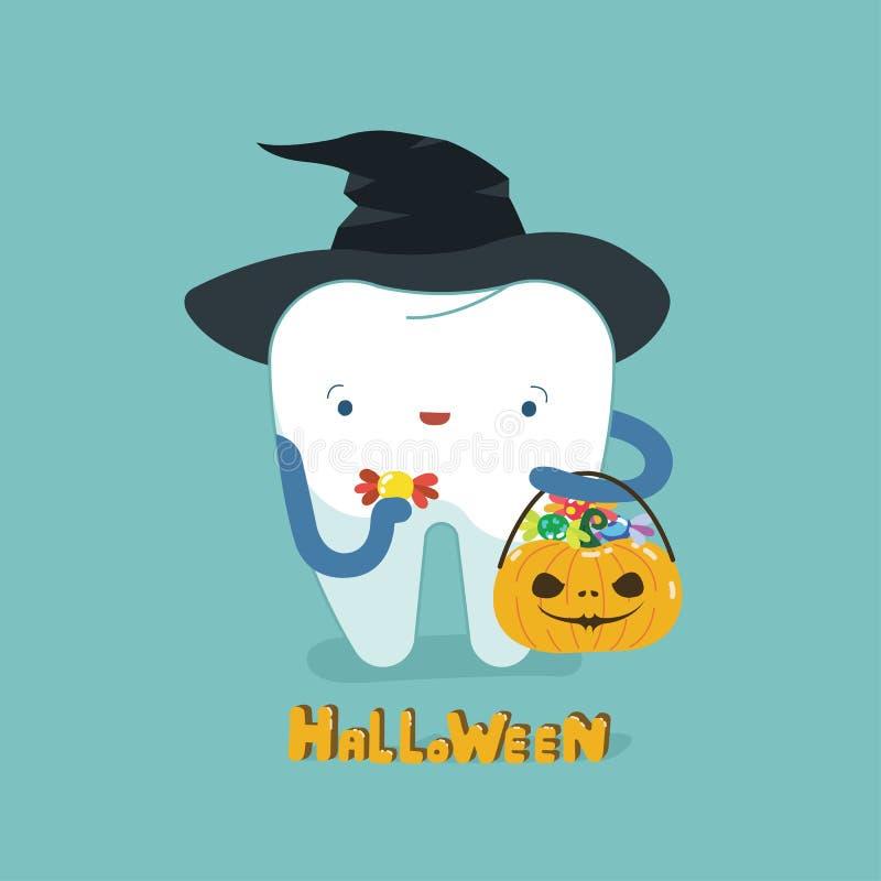 Halloweenowy dzień stomatologiczny, zębu fantacy pojęcie ilustracji
