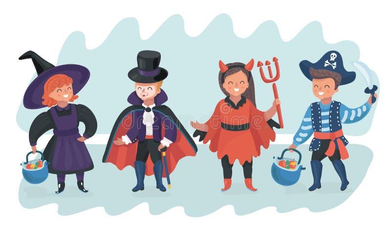 Halloweenowy dzieciaka kostiumu przyjęcie ilustracja wektor