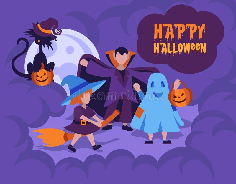 Halloweenowy dzieciaka kostiumu przyjęcie Szczęśliwa Halloween karty mieszkania ilustracja royalty ilustracja