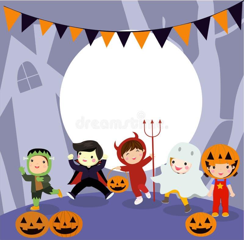 Halloweenowy dzieciaka kostiumu przyj?cie ilustracji