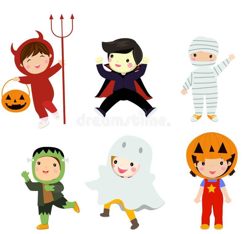 Halloweenowy dzieciaka kostiumu przyj?cie ilustracja wektor