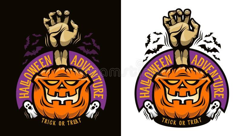 Halloweenowy emblemat z uśmiechniętą banią ilustracji