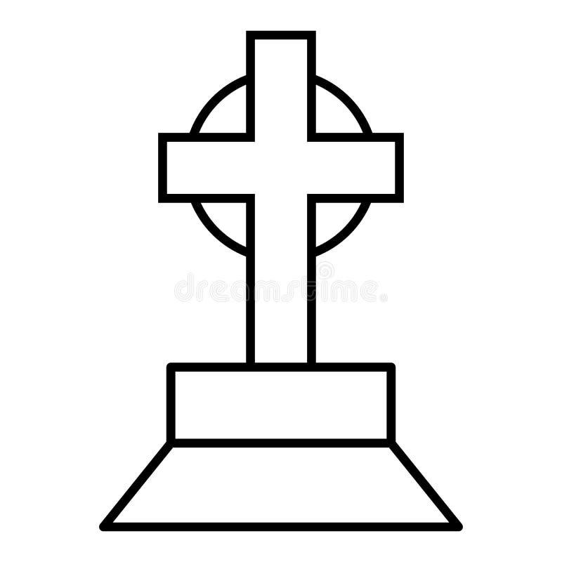 Halloweenowy grób z przecinającym cienieje kreskową ikonę Grzebalna wektorowa ilustracja odizolowywająca na bielu Nagrobku kontur royalty ilustracja