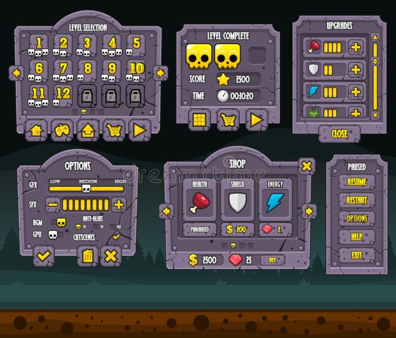 Halloweenowy gry GUI set ilustracja wektor