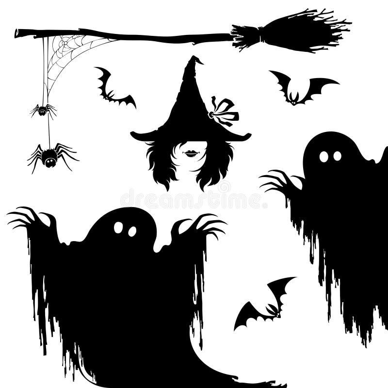 Halloweenowy ikona set Czarownica, koszmaru potwór, miotła i spiderweb, royalty ilustracja