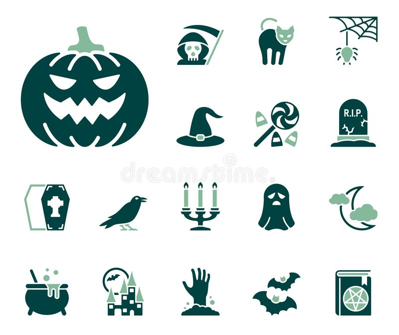 Halloweenowy ikona set ilustracji
