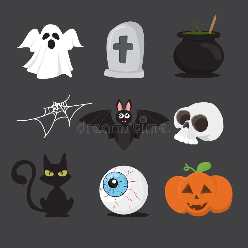 Halloweenowy ikona set odizolowywa na białym tle Wektorowy illustra royalty ilustracja