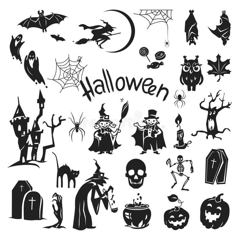 Halloweenowy ikona set, prosty styl ilustracja wektor