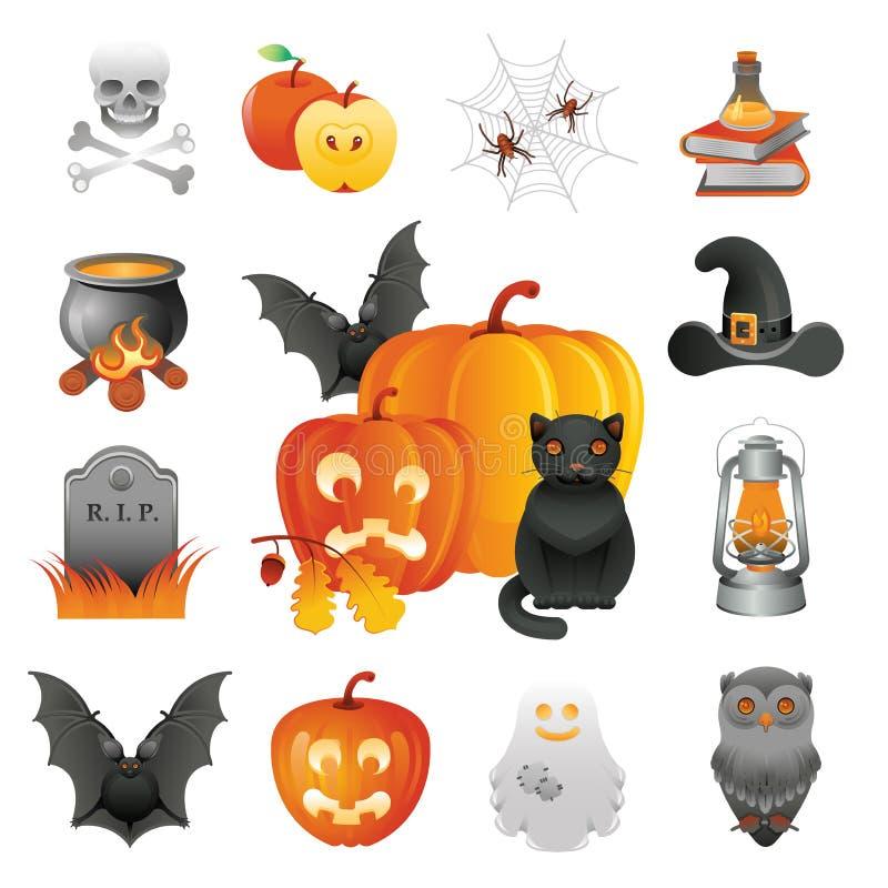 Halloweenowy ilustracja set royalty ilustracja
