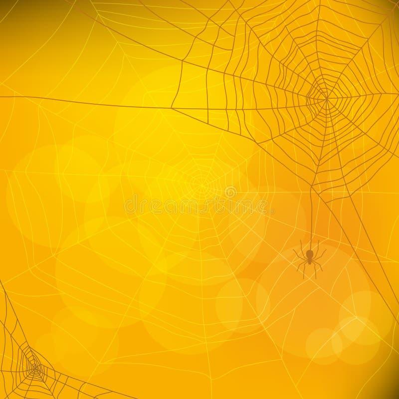 Halloweenowy jesieni tło z pająk siecią, ilustracja wektor