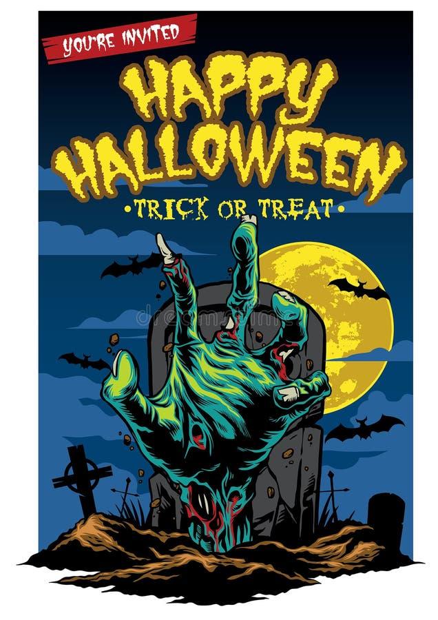 Halloweenowy karciany projekt z żywy trup ręką ilustracja wektor