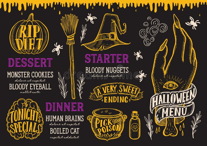 Halloweenowy karmowy menu na chalkboard royalty ilustracja