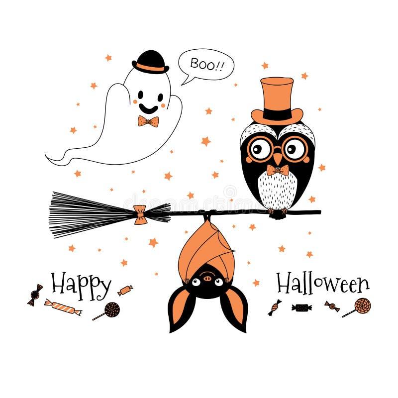 Halloweenowy kartka z pozdrowieniami ilustracja wektor