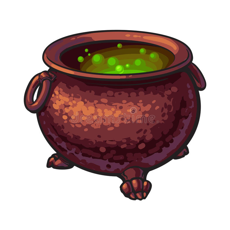 Halloweenowy kocioł z gotowanie zieleni napojem miłosnym inside, odosobniona wektorowa ilustracja royalty ilustracja