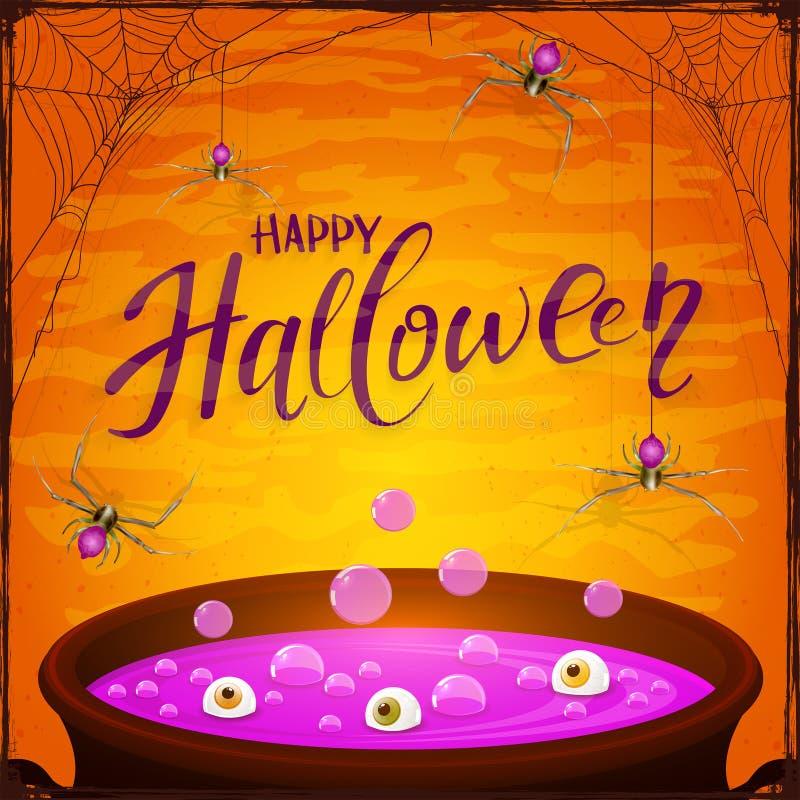 Halloweenowy kocioł z purpurowym napojem miłosnym i pająki na pomarańcze plecy ilustracja wektor